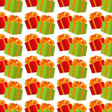 Color background pattern with gift boxes Stock Image