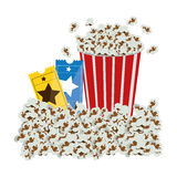 Color background with popcorn container and movie tickets. Illustration Royalty Free Stock Photo