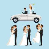 Color background with scenes of newly married couple in different standing and car just married. Vector illustration Royalty Free Stock Images