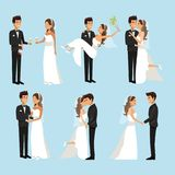Color background with scenes of newly married couple in different standing. Vector illustration Stock Images