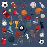 Color background with set collection elements sport Royalty Free Stock Images
