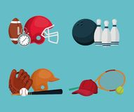 Color background with set elements different sports. Vector illustration Royalty Free Stock Photography