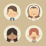 Color background of set half body bride with short brown hair and other brunette and groom circular frame. Vector illustration Royalty Free Stock Image