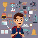 Color background with set school elements and student with bag. Vector illustration Vector Illustration