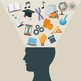 Color background side view silhouette head human with light halo icons academic knowledge. Vector illustration Royalty Free Stock Photos