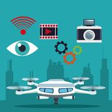 Color background silhouette buildings and modern white drone with pair of teelscope and icons set tech robot stock illustration