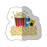 Color background sticker of butter popcorn container and movie tickets Stock Photography
