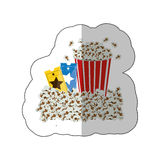 Color background sticker with popcorn container and movie tickets Royalty Free Stock Image