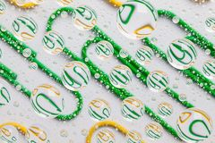 Color background with water drops and paper clips Stock Photos