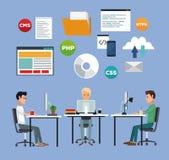 Color background with web developer group men in desk programming language vector illustration