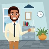 Color background workplace office half body bearded and brunette man execuitive with cup of coffee. Vector illustration Stock Image