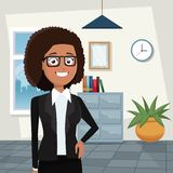 Color background workplace office half body elegant executive brunette curly woman with glasses. Vector illustration Royalty Free Stock Photos