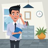 Color background workplace office half body young man characters for business with folder and talk with cellphone. Vector illustration Royalty Free Stock Photography