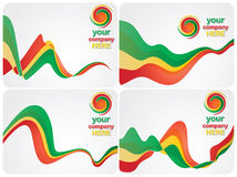 Color backgrounds. Vector set of abstract backgrounds with same colors and logo designs, for your business company royalty free illustration