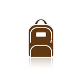 Color backpack icon with reflection Royalty Free Stock Photos