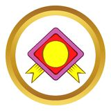 Color badge with yellow ribbons vector icon Stock Photography