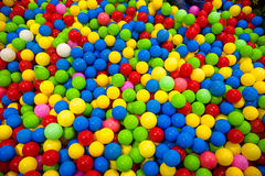 The color ball colorfull for children. soft focus of colorful plastic ball in playground for kid stock images