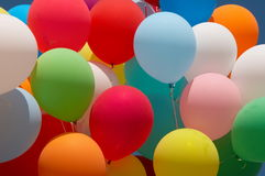 Color balloons 1. Countless colorful balloons flying in deep blue sky Stock Images