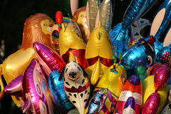 Color balloons. Sheaf of color balloons to the form of animals Royalty Free Stock Photo