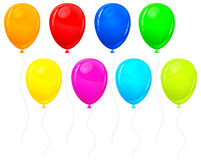 Color balloons. Beautiful color balloons on white, vector illustration Stock Photos