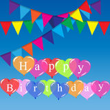 Color balloons background. High quality original trendy vector color happy birthday balloons and flags Can be used for cards, gifts, invitations, sales, banners Stock Photos