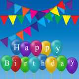Color balloons background. High quality original trendy vector color happy birthday balloons and flags Can be used for cards, gifts, invitations, sales, banners Royalty Free Stock Images