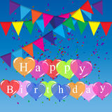 Color balloons background. High quality original trendy vector color happy birthday balloons and flags Can be used for cards, gifts, invitations, sales, banners Royalty Free Stock Photos