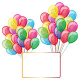 Color balloons with banner Stock Photos