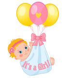 Color Balloons Carrying A Cute Baby Girl. Baby Girl Vector Illustration. Cute Cartoon Babies. Baby Girl Shower Invitation Card. Cute Toddlers. It's A Girl Royalty Free Stock Photos