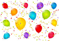 Color balloons. With confetti and ribbons Stock Photography