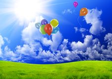 Color balloons in the dark blue sky. Over a green glade Royalty Free Stock Photos