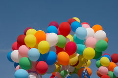 Color balloons in deep blue sky 1 Royalty Free Stock Photo