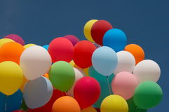 Color balloons in deep blue sky 6 Royalty Free Stock Images