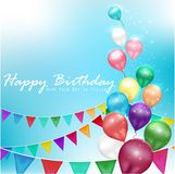 Color balloons Happy Birthday on sunlight background Royalty Free Stock Images