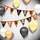 Color balloons Happy Birthday on a wood background Royalty Free Stock Photos
