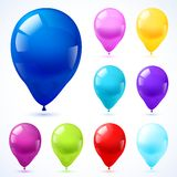 Color balloons icons set. Assorted colors bright glossy  oval shape latex party decoration balloons pictograms collection set abstract isolated vector Royalty Free Stock Image