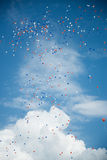 Color Balloons over Turquoise Blue Sky stock photography