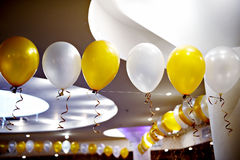 Color balloons at a party at a restaurant Royalty Free Stock Photography