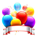 Color Balloons and Ribbon Royalty Free Stock Images