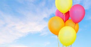 Color balloons on sky. Balloon baloon ballon bunch string birthday stock photos