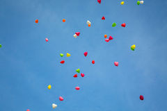 Color Balloons in the Sky. Flying Color Balloons in the Sky in a Summer Day Royalty Free Stock Photos