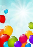 Color balloons on sunny sky. Color balloons on blue sky background Royalty Free Stock Image