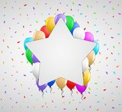 Color balloons and white badge Stock Photo