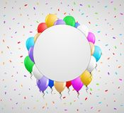 Color balloons and white badge Royalty Free Stock Images