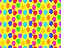 Color balloons yellow background bright seamless pattern. Vector illustration Royalty Free Stock Image