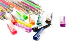 Color ballpoint pens stock images
