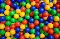 Color balls. Many colour plastic balls from children's small town Stock Images