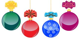 Color balls with bow. Festive ball with bow on white background is insulated Stock Photo