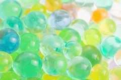 Hydrogel beads. Color balls, hydrogel beads, background Stock Images