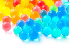 Color balls of polymer gel. Color balls, colored polymer gel, hydrogel beads Stock Photo